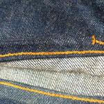 丈詰めチェーンステッチ AFTER ミシンはunionspecialを、糸は綿糸を使用し仕上げました。