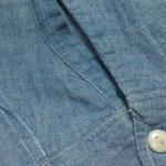 70年代 シャンブレーシャツ 袖部裂け AFTER
