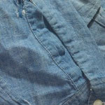 70年代 シャンブレーシャツ 袖部裂け BEFORE