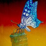 木版画:『蝶と建物』(1988年)