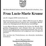 Lucie-Marie Krause , verstorben am 22.08.2009