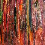 Feuer II - Flammen züngeln auf in allen heißen Farben, schmelzen zärtlich, zerstören wütend - und aus der Asche entsteht Neues - die Wandlung komplettiert sich in sich selbst.