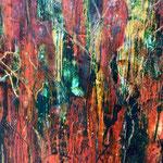 Feuer I - Flammen züngeln auf in allen heißen Farben, schmelzen zärtlich, zerstören wütend - und aus der Asche entsteht Neues - die Wandlung komplettiert sich in sich selbst.