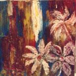 Stilleben mit lila Flasche - Hommage an die Expressionisten. Die Kraft der Farben gibt den Ton an, die lila Flasche ruft das Bunte zur Ordnung.