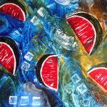 Wassermelonen - Hier zeige ich eine Paletten-Encaustic, die ich in schnellem Rhytmus mit Wachs und heißem Eisen gemalt habe.