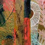 Farne II  - Das Farnblatt entrollt sich zögerlich zu seiner vollen Größe, grünt, lebt auf in seiner Frische, wird in der Sonne durchscheinend weiß um dann den Weg ins verhaltene Rotbraun und Ocker zu finden.