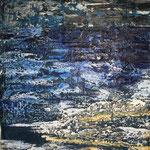 Gischt - Encaustic auf Malpappe. Im Blau findet sich die Tiefe des Meeres, die Gischt wird durch einen erhöhten Wachsauftrag plastisch dargestellt und scheint aus dem Rahmen zu schäumen. (VERKAUFT)