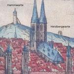 Die ehemalige Heidbergwarte auf dem bekannten Stich von Braun und Hogenberg 1581