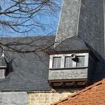 Der (neuzeitliche?) Ausguck am Nordturm (mit Turmfalkenkasten)