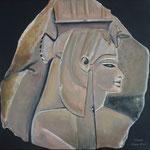 Königin Teje (18. Dynastie) - Daniela Rutica: Teje, 30 x 30 cm, Acryl/Lw., 2018