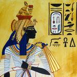 Königin Ahmes Nefertari (18. Dynastie) - Daniela Rutica: Ahmes Nefertari (Detail), Acryl und Kasein/Lw., 2015
