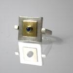 Ring, 925 Silber, 750 Gold, Saphir