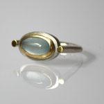 Ring, 925 Silber, 750 Gold, Aquamarin