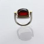 Ring, 925 Silber, 750 Gold, Granat