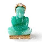 Лот №П534.Винтажная брошь *Нефритовый Будда*.Без маркировки,в прекрасном состоянии,размер-3.3 см,объёмная форма.ПРОДАНА