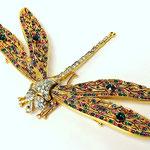 Лот №17.Брошь-стрекоза Кеннет Джей Лейн из люксовой коллекции дизайнера.Сделано в США.Позолота 24К,кристаллы Сваровски.Размер-12х7.5 см.Цена-6500 грн
