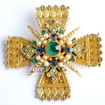 Лот №П859.Винтажная брошь-кулон  мальтийский крест от ART.Очень хорошая сохранность,маркировка.Размер-6 см.ПРОДАН