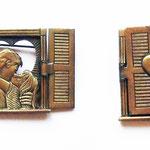 Лот №П402.Необыкновенная брошь от компании JJ(см.раздел *Известные винтажные марки*),маркирована,редчайший экземпляр.Ювелирный сплав под бронзу,благородная патина,размер-3х3.7см.ПРОДАНА