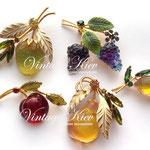 Лот №П821.Морозные фрукты,винтажные броши из австрийского стекла.Покупка любых фруктов под заказ.