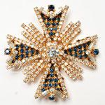 Лот №П608.Винтажная брошь-мальтийский крест,в прекрасном состоянии,без маркировки.Искусное выполнение,3Д форма,все кристаллы наилучшего качества.Размер-6.3 см. ПРОДАНА