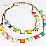 Лот №П695.Колье на шею для лета от модного американского дизайнера Kate Spade(www.katespade.com).Позолота,разноцветный люцит.Длина вдвое внешнего круга-27 см.ПРОДАНО