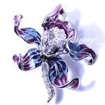 Лот №П707.Новая брошь *Орхидея* Nolan Miller(подробнее о дизайнере в разделе *Известные марки*).Ювелирный сплав под серебро,разноцветная эмаль,кристаллы Сваровски.Объемная 3Д форма,размер-5.5х5 см.ПРОДАНА