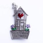 """Лот №П306.Тематическая брошь """"Твой дом там,где твое сердце""""производства компании Jonette Jewelry(смотрите раздел *Известные марки*).Брошь новая,маркирована.Размер-6х3 см.Ювелирный сплав под серебро,разноцветная эмаль.ПРОДАНА"""