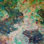 «Сколько нужно лягушек для обмена на жвачку?!» (диптих).       2015 г.      Холст, масло.    95х100 см.