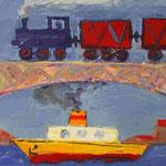 Сергей Лаушкин.    Паровоз, пароход.    2007 г. Холст, масло. 60х80 см