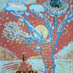 Светлана Абакумова.    Гнездо.    2003 г. Двп, масло. 83х56 см.