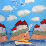 Сергей Лаушкин.    Пароход, самолет.    2004 г. Холст, масло. 80х70 см.