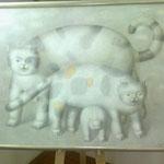 Три кошки.      2010 г.     Холст, масло.   70х90 см.