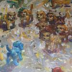Голубой щенок.          2015 г.          Холст, масло.       95х105 см.