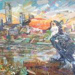 Кирилл Бородин.   Городской пейзаж с туканом.    2015 г.   Холст, масло.   65х80 см