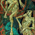 Две ящерки.         2015 г.      Холст, масло.       Триптих.      Часть-1    80х160 см.