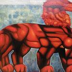 Красный лев.      2015 г.     Холст, масло.          75х84см.