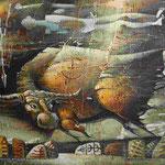 Станислав Кежов.    Дух охотника.     2006 г. Холст, рельеф, темпера, акрил. 76х86 см.