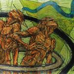 Голубая змейка.      2015 г.       Холст, масло.      Диптих      Часть-1      130х80 см.      Часть-2     130х80 см.