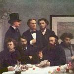"Henri Fantin-Latour, ""Le coin de table"", Musée D'Orsay, Parigi. In basso a sinistra, Paul Verlaine e Arthur Rimbaud con la mano sotto al mento (1872)"