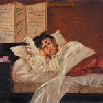 """Jef Rosman, """"Epilogue à la Française"""". Rimbaud convalescente dopo la sparatoria con Verlaine, ospitato dalla tabaccaia Pincemaille (1873)"""