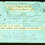 """Telegramma di Madame Rimbaud al figlio, 22 maggio 1891. """"Parto. Arriverò domani sera. Coraggio e pazienza"""""""