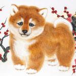 「春を呼ぶ子犬」 SM号  紙本彩色  2015年制作
