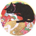 「実は猫娘」 S4号 紙本彩色・箔  2015年制作