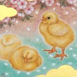 「雛のころ」 F0号  紙本彩色・箔  2016年制作