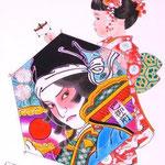 「高く高くあがれ」 F3号  紙本彩色  2015年制作