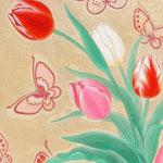 「春よ来い」 P3号 紙本彩色・箔 2016年制作