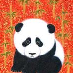 「大熊猫」 F0号  紙本彩色・箔  2015年制作
