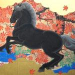 「青毛深秋図」 F20号 紙本彩色・箔 2016年制作
