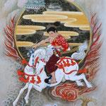 「尾張之駿馬図」 P6号 紙本彩色 2015年制作