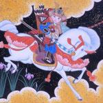 「一騎図 -花菖蒲-」 F0号 紙本彩色・箔  2015年制作